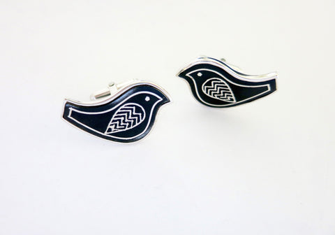 Whimsical Bidri bird cufflinks (PB-3754-CL)  Cuff links Sterling silver handcrafted jewellery. 925 pure silver jewellery. Earrings, nose pins, rings, necklaces, cufflinks, pendants, jhumkas, gold plated, bidri, gemstone jewellery. Handmade in India, fair trade, artisan jewellery.