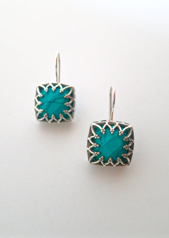 Chic Samarkand square facetted turquoise earrings (PBS-7239-ER)  Earrings Sterling silver handcrafted jewellery. 925 pure silver jewellery. Earrings, nose pins, rings, necklaces, cufflinks, pendants, jhumkas, gold plated, bidri, gemstone jewellery. Handmade in India, fair trade, artisan jewellery.