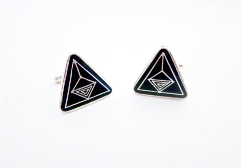 Classic triangular Bidri cufflinks (PB-3757-CL)  Cuff links Sterling silver handcrafted jewellery. 925 pure silver jewellery. Earrings, nose pins, rings, necklaces, cufflinks, pendants, jhumkas, gold plated, bidri, gemstone jewellery. Handmade in India, fair trade, artisan jewellery.