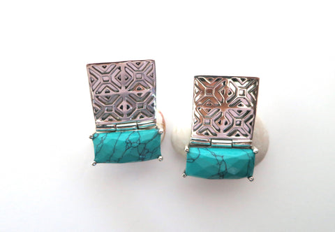 Exquisite rectangular Samarkand jali pattern earrings with facetted turquoise (PBS-7236-ER)  Earrings Sterling silver handcrafted jewellery. 925 pure silver jewellery. Earrings, nose pins, rings, necklaces, cufflinks, pendants, jhumkas, gold plated, bidri, gemstone jewellery. Handmade in India, fair trade, artisan jewellery.