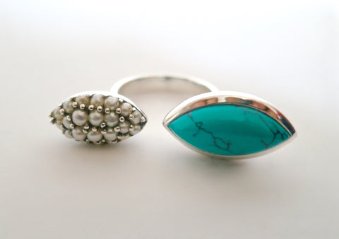 Chic Samarkand turquoise & pave seed pearls open ring (PBS-7310-R)  Ring Sterling silver handcrafted jewellery. 925 pure silver jewellery. Earrings, nose pins, rings, necklaces, cufflinks, pendants, jhumkas, gold plated, bidri, gemstone jewellery. Handmade in India, fair trade, artisan jewellery.