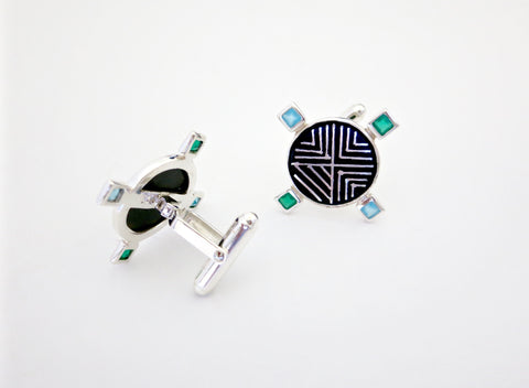 Classy round Bidri cufflinks with facetted square stones (PB-3755-CL)  Cuff links Sterling silver handcrafted jewellery. 925 pure silver jewellery. Earrings, nose pins, rings, necklaces, cufflinks, pendants, jhumkas, gold plated, bidri, gemstone jewellery. Handmade in India, fair trade, artisan jewellery.