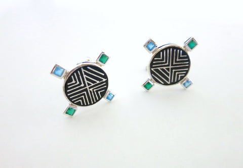 Classy, round, Bidri cufflinks with faceted square stones