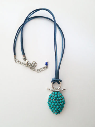 Whimsical and chic, Samarkand turquoise pave cluster pendant  Necklace, Pendant Sterling silver handcrafted jewellery. 925 pure silver jewellery. Earrings, nose pins, rings, necklaces, cufflinks, pendants, jhumkas, gold plated, bidri, gemstone jewellery. Handmade in India, fair trade, artisan jewellery.