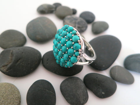 Gorgeous Samarkand round turquoise pave cluster ring (PBS-7311-R)  Ring Sterling silver handcrafted jewellery. 925 pure silver jewellery. Earrings, nose pins, rings, necklaces, cufflinks, pendants, jhumkas, gold plated, bidri, gemstone jewellery. Handmade in India, fair trade, artisan jewellery.
