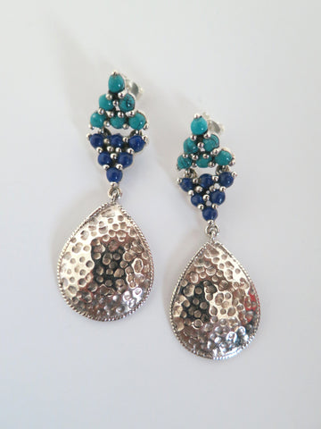 Elegant, Samarkand turquoise and lapis hammer finish drop earrings  Earrings Sterling silver handcrafted jewellery. 925 pure silver jewellery. Earrings, nose pins, rings, necklaces, cufflinks, pendants, jhumkas, gold plated, bidri, gemstone jewellery. Handmade in India, fair trade, artisan jewellery.