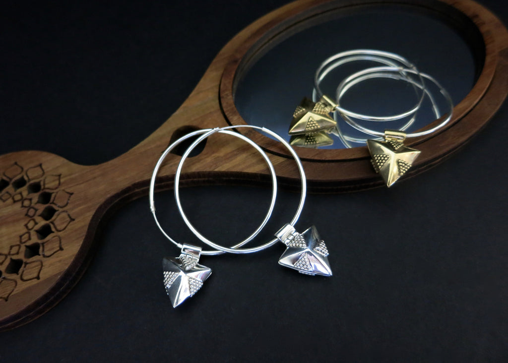 Exquisite, detachable, sterling silver triangular rava-work locket hoops (PB-1654-ER)  Earrings Lai designer sterling silver 925 jewelry that is global culture inspired artisanal handcrafted handmade contemporary sustainable conscious fair trade online brand shop