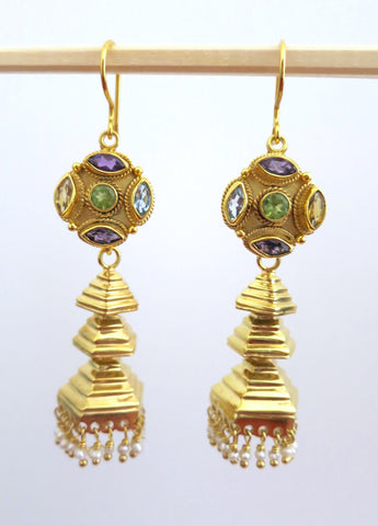 Gold plated detachable tiered jhumkas with multi colour gemstone tops (PBJ-07-S)  Earrings Sterling silver handcrafted jewellery. 925 pure silver jewellery. Earrings, nose pins, rings, necklaces, cufflinks, pendants, jhumkas, gold plated, bidri, gemstone jewellery. Handmade in India, fair trade, artisan jewellery.