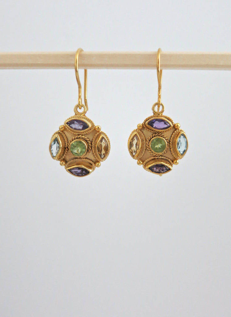 Gold plated dainty multi colour gemstones earrings (PBJ-16-T)  Earrings Sterling silver handcrafted jewellery. 925 pure silver jewellery. Earrings, nose pins, rings, necklaces, cufflinks, pendants, jhumkas, gold plated, bidri, gemstone jewellery. Handmade in India, fair trade, artisan jewellery.