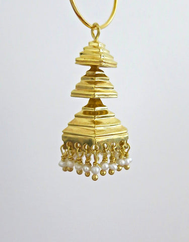 Gold plated 3-tiered pyramidical Jhumka bottoms (PBJ-33-B)  Earrings Sterling silver handcrafted jewellery. 925 pure silver jewellery. Earrings, nose pins, rings, necklaces, cufflinks, pendants, jhumkas, gold plated, bidri, gemstone jewellery. Handmade in India, fair trade, artisan jewellery.