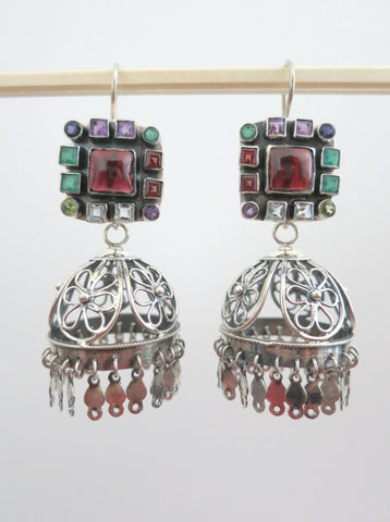 Magnificent detachable filigree jhumkas with square multi colour gemstone tops (PBJ-03-S)  Earrings Sterling silver handcrafted jewellery. 925 pure silver jewellery. Earrings, nose pins, rings, necklaces, cufflinks, pendants, jhumkas, gold plated, bidri, gemstone jewellery. Handmade in India, fair trade, artisan jewellery.