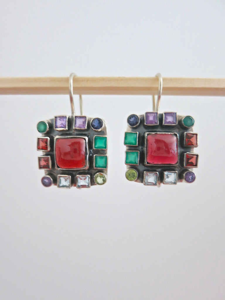 Ravishing square multi colour gemstones earrings (PBJ-14-T)  Earrings Sterling silver handcrafted jewellery. 925 pure silver jewellery. Earrings, nose pins, rings, necklaces, cufflinks, pendants, jhumkas, gold plated, bidri, gemstone jewellery. Handmade in India, fair trade, artisan jewellery.