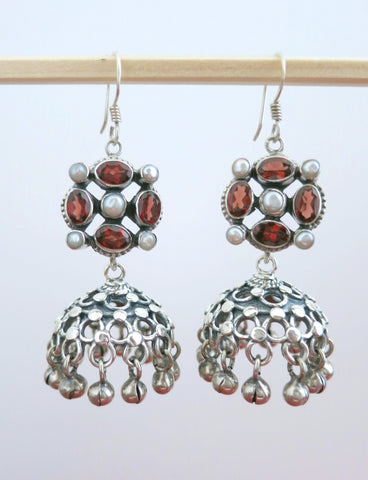 Classic and chic, detachable, jali jhumkas with garnet and pearl tops  Earrings Sterling silver handcrafted jewellery. 925 pure silver jewellery. Earrings, nose pins, rings, necklaces, cufflinks, pendants, jhumkas, gold plated, bidri, gemstone jewellery. Handmade in India, fair trade, artisan jewellery.