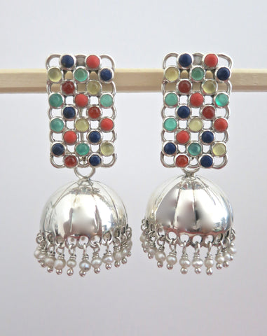 Artistic, light-weight, detachable jhumkas with rectangular multi-color gemstone tops  Earrings Sterling silver handcrafted jewellery. 925 pure silver jewellery. Earrings, nose pins, rings, necklaces, cufflinks, pendants, jhumkas, gold plated, bidri, gemstone jewellery. Handmade in India, fair trade, artisan jewellery.