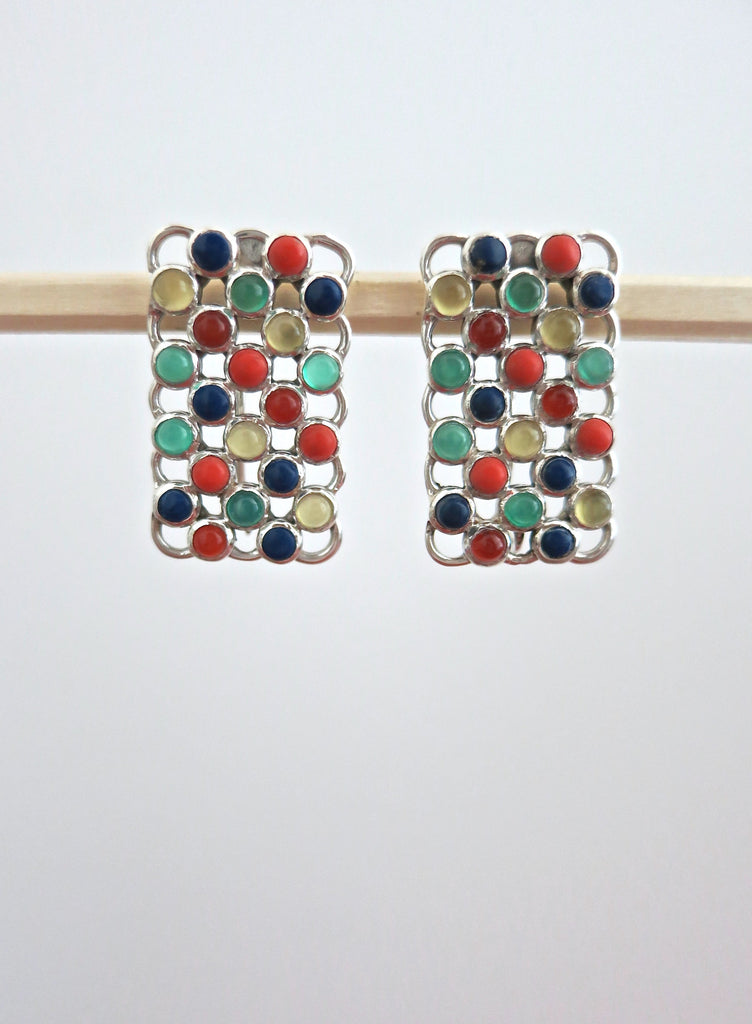 Unique rectangular multi colour gemstones earrings (PBJ-22-T)  Earrings Sterling silver handcrafted jewellery. 925 pure silver jewellery. Earrings, nose pins, rings, necklaces, cufflinks, pendants, jhumkas, gold plated, bidri, gemstone jewellery. Handmade in India, fair trade, artisan jewellery.