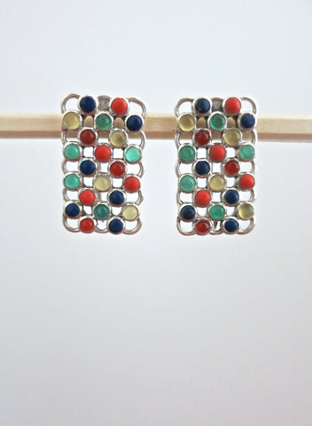 Unique rectangular multi colour gemstones earrings (PBJ-22-T)