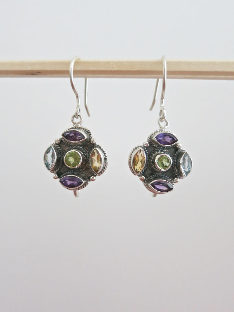 Dainty multi colour gemstones earrings (PBJ-15-T)  Earrings Lai designer sterling silver 925 jewelry that is global culture inspired artisanal handcrafted handmade contemporary sustainable conscious fair trade online brand shop