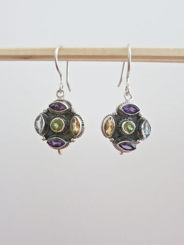 Dainty multi-color gemstones earrings