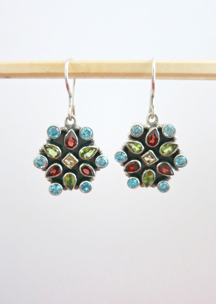 Stunning multi colour gemstones earrings (PBJ-20-T) - Lai