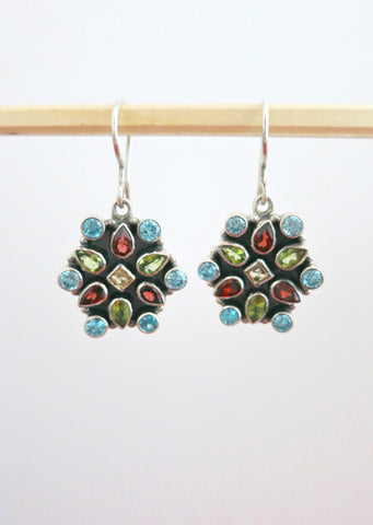 Stunning multi colour gemstones earrings (PBJ-20-T)