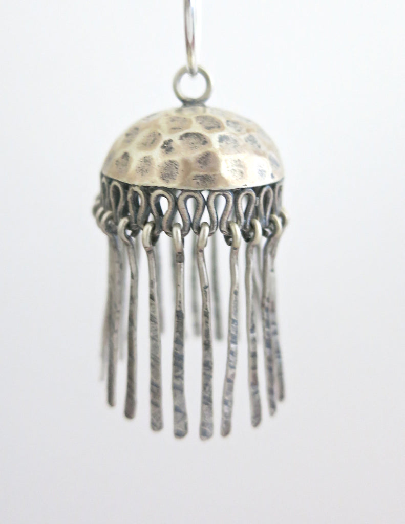 Artistic hammer finish Jhumka bottoms with fringe (PBJ-29-B)  Earrings Sterling silver handcrafted jewellery. 925 pure silver jewellery. Earrings, nose pins, rings, necklaces, cufflinks, pendants, jhumkas, gold plated, bidri, gemstone jewellery. Handmade in India, fair trade, artisan jewellery.