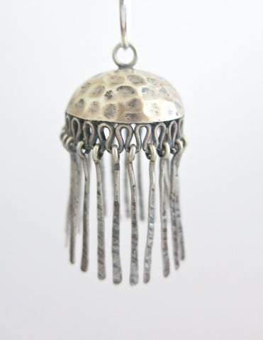 Artistic, bohemian, hammer-finish Jhumka bottoms with fringe