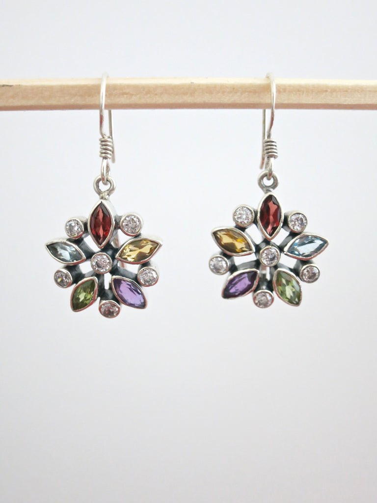 Classic floral motif multi colour gemstones earrings (PBJ-18-T)  Earrings Sterling silver handcrafted jewellery. 925 pure silver jewellery. Earrings, nose pins, rings, necklaces, cufflinks, pendants, jhumkas, gold plated, bidri, gemstone jewellery. Handmade in India, fair trade, artisan jewellery.
