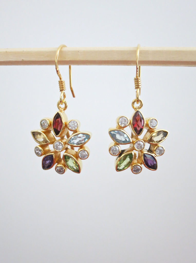 Gold plated classic floral multi colour gemstones earrings (PBJ-19-T)  Earrings Sterling silver handcrafted jewellery. 925 pure silver jewellery. Earrings, nose pins, rings, necklaces, cufflinks, pendants, jhumkas, gold plated, bidri, gemstone jewellery. Handmade in India, fair trade, artisan jewellery.