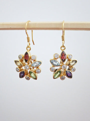 Gold plated classic floral multi colour gemstones earrings (PBJ-19-T)