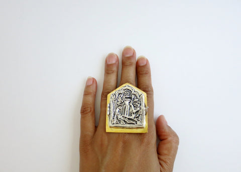 Super sized, bi-metal, hut shape, deity amuletic ring with ancient die-stamp embossing (PB-MM1075-R)  Ring Sterling silver handcrafted jewellery. 925 pure silver jewellery. Earrings, nose pins, rings, necklaces, cufflinks, pendants, jhumkas, gold plated, bidri, gemstone jewellery. Handmade in India, fair trade, artisan jewellery.
