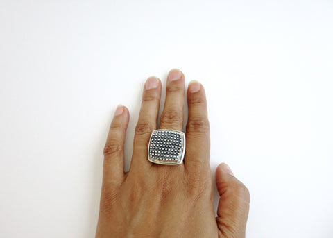 Gorgeous, beaded texture square sterling silver locket ring (PB-1242-R)  Ring Sterling silver handcrafted jewellery. 925 pure silver jewellery. Earrings, nose pins, rings, necklaces, cufflinks, pendants, jhumkas, gold plated, bidri, gemstone jewellery. Handmade in India, fair trade, artisan jewellery.