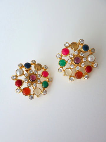 Dramatic, classic, round multi-color gemstones earrings
