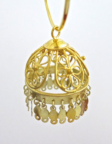 Beautiful, large, gold-plated filigree Jhumka bottoms