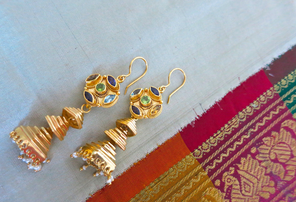 Gold plated detachable tiered jhumkas with multi colour gemstone tops (PBJ-07-S)  Earrings Lai designer sterling silver 925 jewelry that is global culture inspired artisanal handcrafted handmade contemporary sustainable conscious fair trade online brand shop