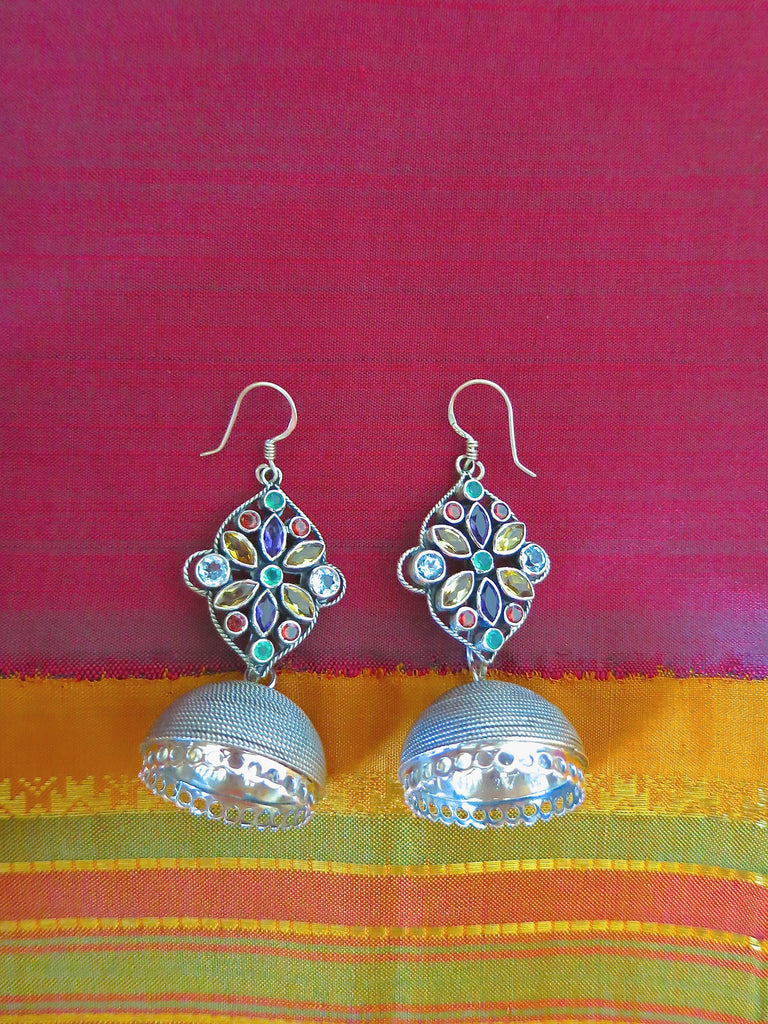 Stunning detachable wire wrapped jhumkas with beautiful multi colour gemstone tops (PBJ-01-S) - Lai - 1