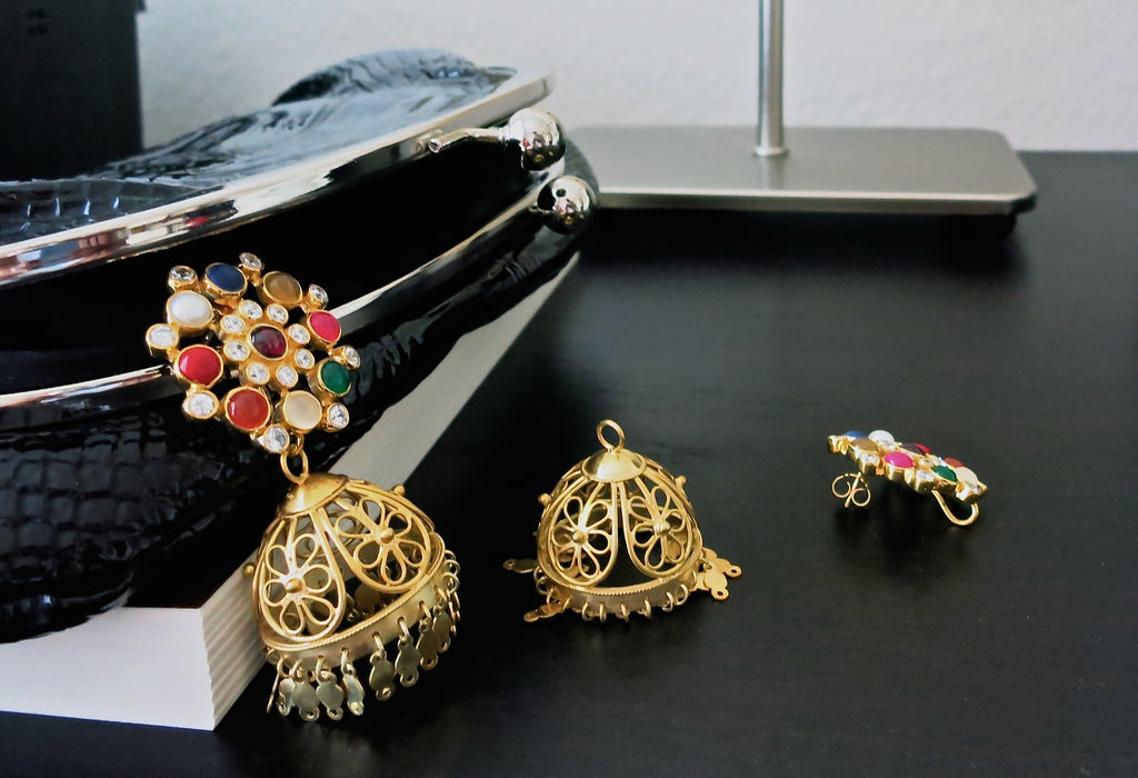 Glamorous gold plated detachable filigree jhumkas with round multi colour gemstone tops (PBJ-11-S) - Lai - 1