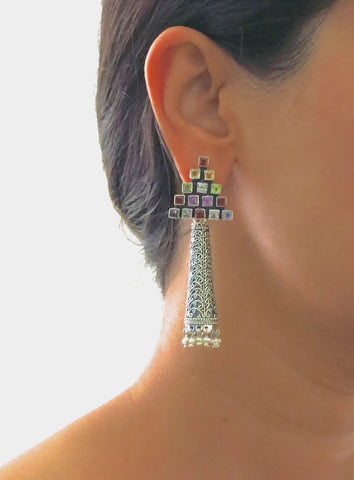 Dramatic, detachable long tubular jhumkas with triangular multicolor gemstone tops  Earrings Sterling silver handcrafted jewellery. 925 pure silver jewellery. Earrings, nose pins, rings, necklaces, cufflinks, pendants, jhumkas, gold plated, bidri, gemstone jewellery. Handmade in India, fair trade, artisan jewellery.