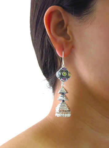 Contemporary, detachable, tiered jhumkas with multi-color gemstone tops  Earrings Sterling silver handcrafted jewellery. 925 pure silver jewellery. Earrings, nose pins, rings, necklaces, cufflinks, pendants, jhumkas, gold plated, bidri, gemstone jewellery. Handmade in India, fair trade, artisan jewellery.