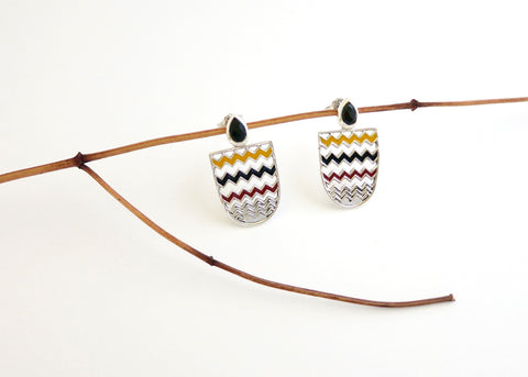 Chic, unique, chevron pattern, enamel ear tops with facetted black agate drop (PB-10257-ER)