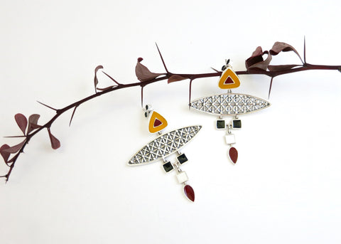 Dramatic, unique, multi-tiered, Africa inspired statement enamel earrings (PB-10256-ER)