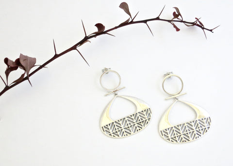 Dramatic Africa inspired, statement earrings with a lattice pattern (PB-10250-ER)  Earrings Sterling silver handcrafted jewellery. 925 pure silver jewellery. Earrings, nose pins, rings, necklaces, cufflinks, pendants, jhumkas, gold plated, bidri, gemstone jewellery. Handmade in India, fair trade, artisan jewellery.
