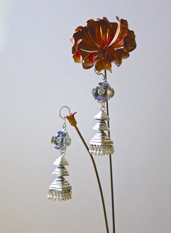Contemporary, detachable, tiered jhumkas with multi-color gemstone tops