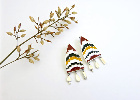 Arresting, pointed shield earrings with enamel work and dangling units (PB-10253-ER)