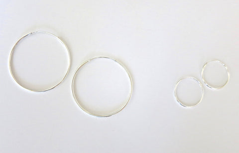 Big and small silver hoops