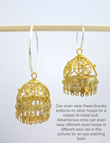Beautiful gold plated filigree Jhumka bottoms (PBJ-27-B)  Earrings Sterling silver handcrafted jewellery. 925 pure silver jewellery. Earrings, nose pins, rings, necklaces, cufflinks, pendants, jhumkas, gold plated, bidri, gemstone jewellery. Handmade in India, fair trade, artisan jewellery.