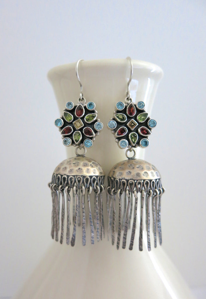Arresting detachable fringe jhumkas with multi colour gemstones tops (PBJ-12-S) - Lai - 1
