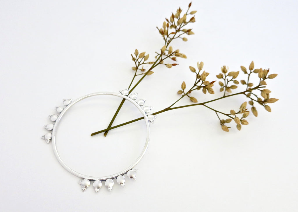 Elegant, unique, vertical dots bangle with granulation work (PB-1411-B)  Bangles Sterling silver handcrafted jewellery. 925 pure silver jewellery. Earrings, nose pins, rings, necklaces, cufflinks, pendants, jhumkas, gold plated, bidri, gemstone jewellery. Handmade in India, fair trade, artisan jewellery.