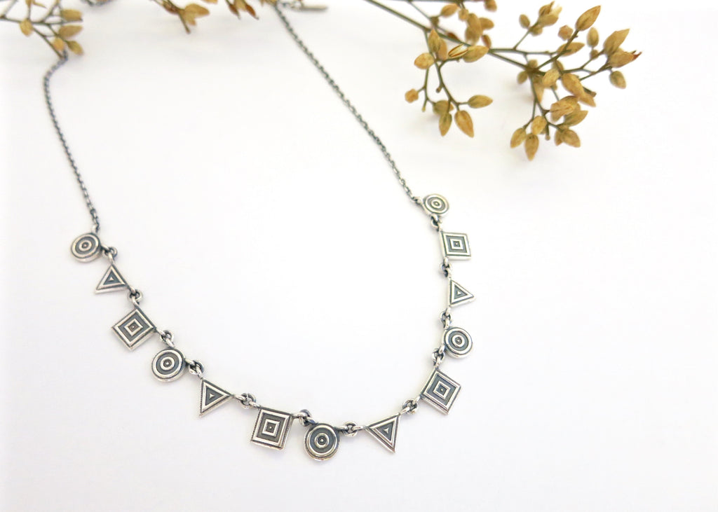 Chic, elegant, will-go-with-everything, geometric medley necklace (PB-2177-N)  Necklace, Pendant Lai designer sterling silver 925 jewelry that is global culture inspired artisanal handcrafted handmade contemporary sustainable conscious fair trade online brand shop