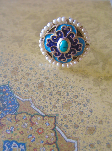 Stunning, Mughal-inspired, round enamel ring with turquoise and pearls  Ring Sterling silver handcrafted jewellery. 925 pure silver jewellery. Earrings, nose pins, rings, necklaces, cufflinks, pendants, jhumkas, gold plated, bidri, gemstone jewellery. Handmade in India, fair trade, artisan jewellery.