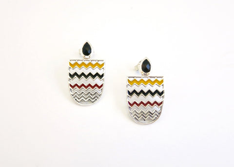 Chic, unique, chevron pattern, enamel ear tops with facetted black agate drop (PB-10257-ER)  Earrings Sterling silver handcrafted jewellery. 925 pure silver jewellery. Earrings, nose pins, rings, necklaces, cufflinks, pendants, jhumkas, gold plated, bidri, gemstone jewellery. Handmade in India, fair trade, artisan jewellery.